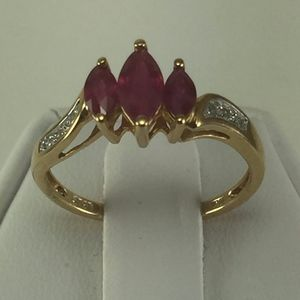 Jewelry - Stunning 10K yellow Gold, Ruby Woman Cocktail Ring